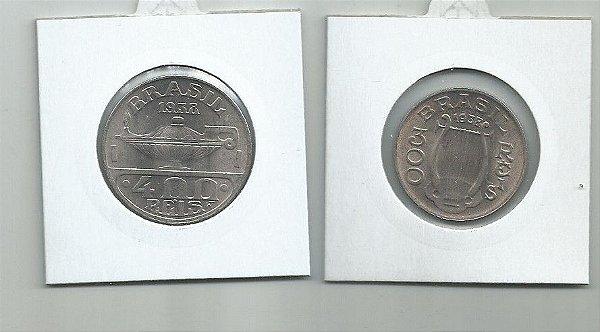 LINDAS ,MOEDAS DE NÍQUEIS ANO 1938 300 e 400 RÉIS SOB/FLOR