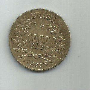 ESCASSA MOEDA DE 1000 RÉIS ANO 1930 BRASIL MBC+