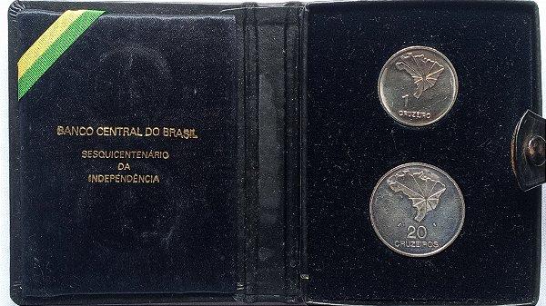Estojo com duas moedas do Sesquicentenário da Independência - 1 e 20 Cruzeiros
