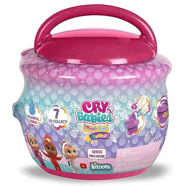 Cry Babies Magic Tears Paci House Cry Baby Boneca Surpresa POTE ROSA ESCURO