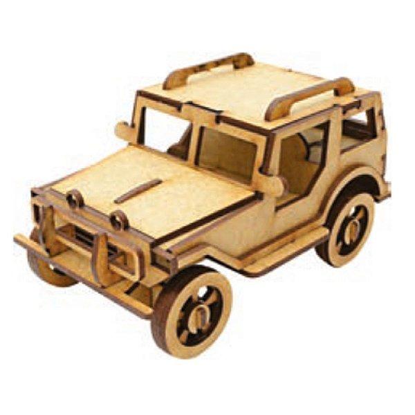 Quebra Cabeça De Madeira Carros 3D Jipe