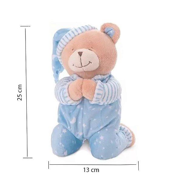 Urso Que Reza Buba Azul Urso de pelúcia  ursinho de pelúcia AZUL