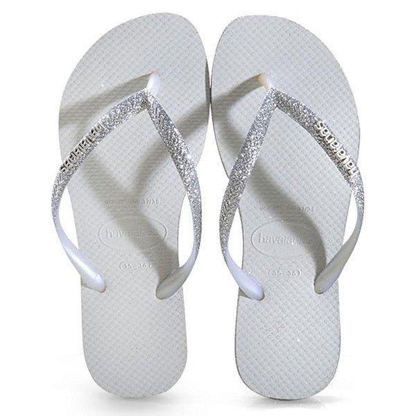 Havaianas Infantil Glitter Slim Branco Chinelo Original