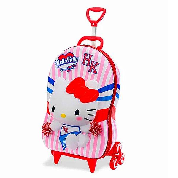 Mochila Infantil de Rodinha Mochilete Hello Kitty Cheerleader MaxToy