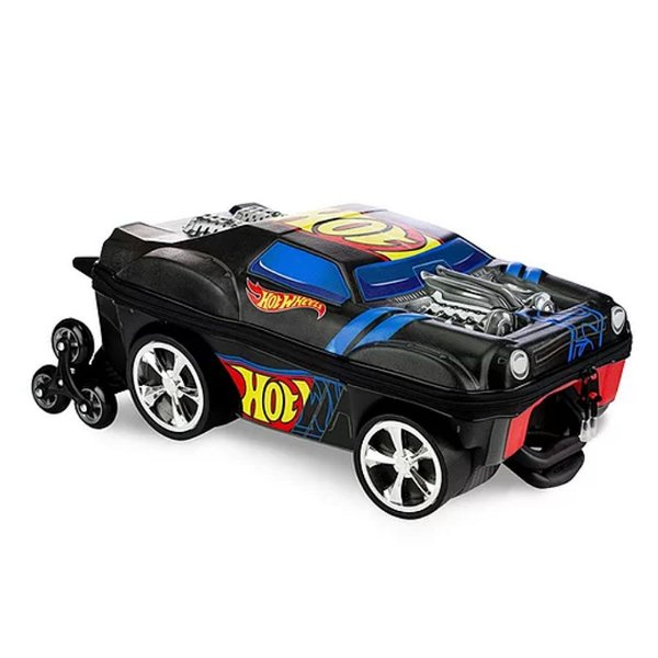 Mochila Infantil de Rodinha Mochilete Hot Wheels NIght Shifter Preto MaxToy
