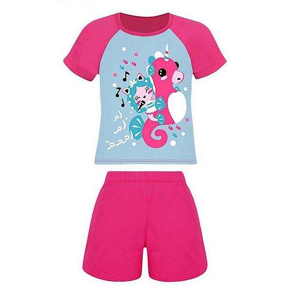 Pijama Infantil Lupo Algodão Desenho Menina Curto