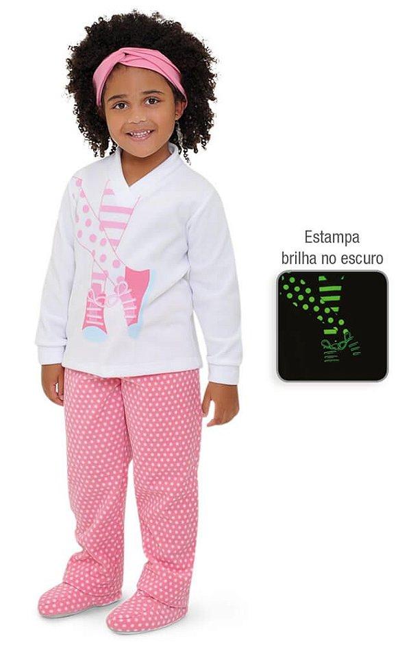1d95272b9 Pijama infantil de soft menina poá meias que brilha no escuro - Kids ...