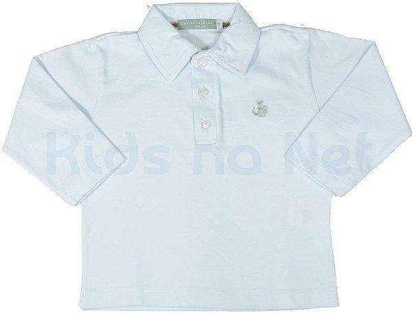 Camisa polo manga longa branca