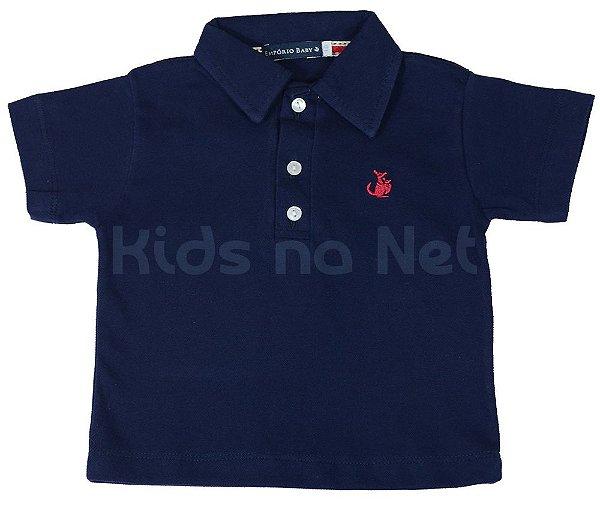 Camisa infantil Empório Baby polo  manga curta azul