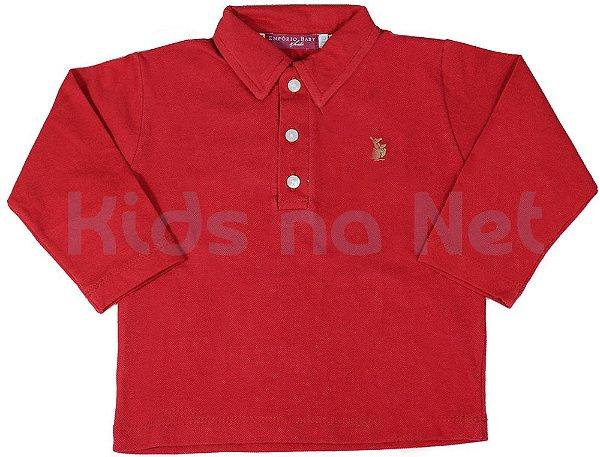 Camisa infantil Empório Baby polo manga longa vermelha