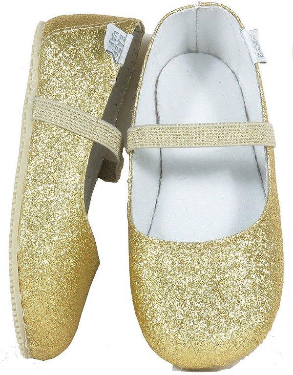 e7d546da07 Sapatilha dourada infantil bailarina gliter - Babo Uabu - Kids na ...