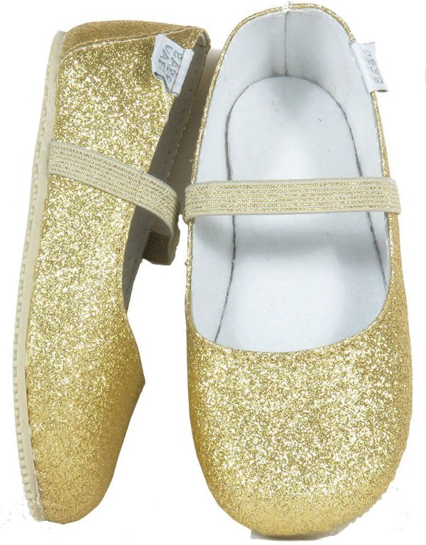 Sapatilha Dourada Infantil Bailarina Gliter - Babo Uabu