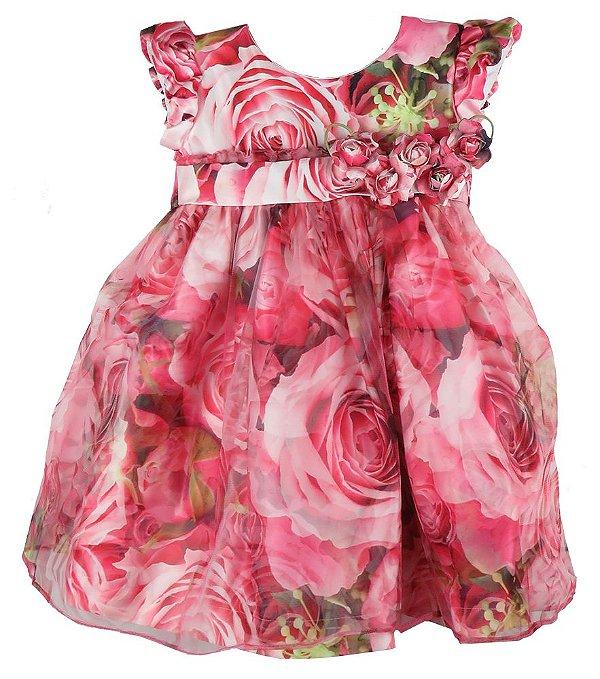 Vestido de Festa infantil  Rosas com tule sobre a saia