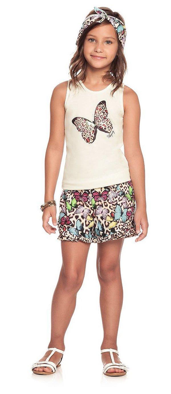 Conjunto infantil feminino Charpey regata borboleta+ shorts