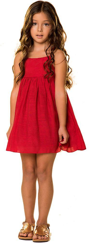 Vestido infantil Que te encante shantung vermelho estrelar
