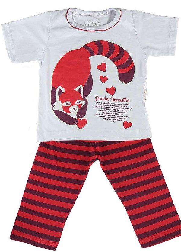 Pijama infantil feminino Cara de Criança longo panda vermelho
