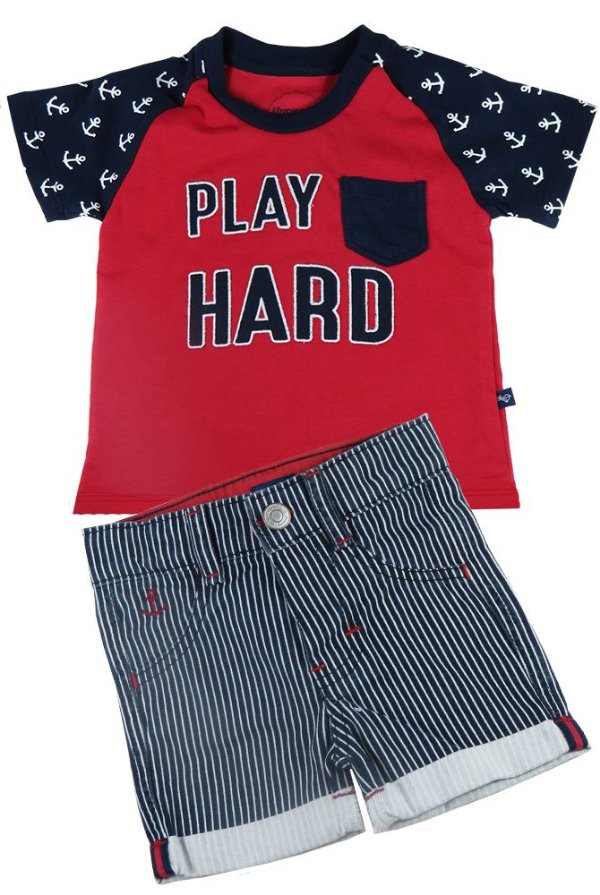 Conjunto infantil Sleeping Pill camiseta play hard + bermuda