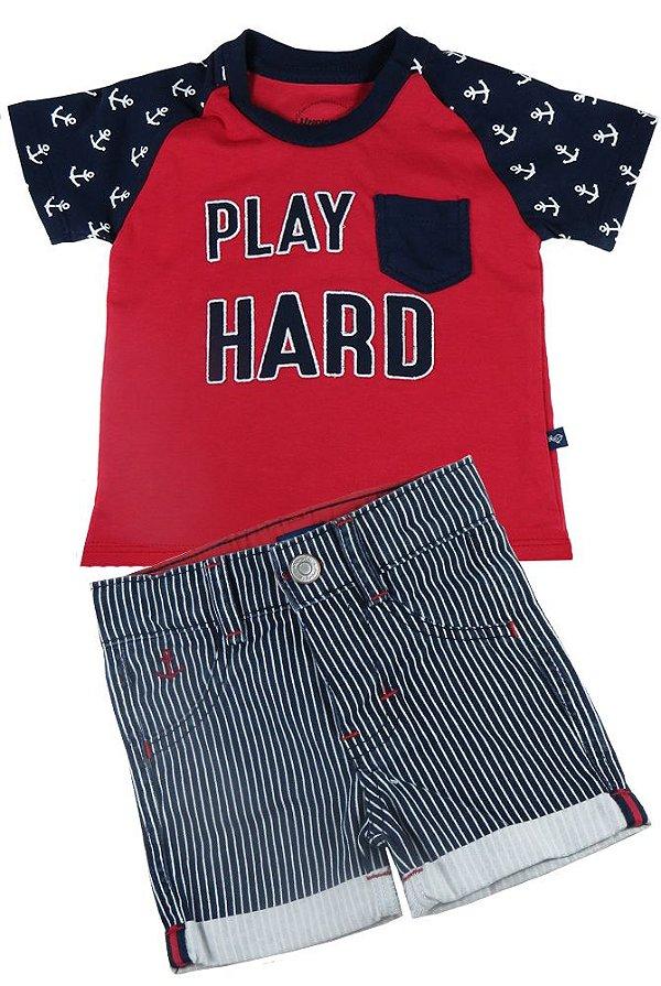 Conjunto infantil Sleeping Pill camiseta play hard + bermuda