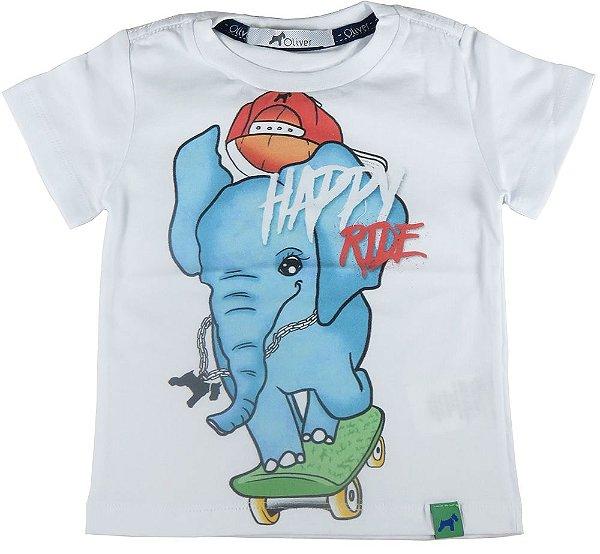 Camiseta infantil Menino Oliver elefante e skate