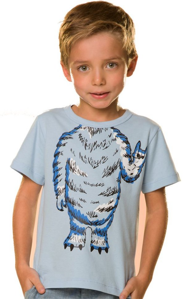 Camiseta Infantil corpo monstrinho azul 100% Algodão
