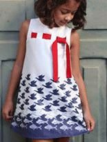 Vestido infantil feminina Guapachicfesta Pássaros e Peixes