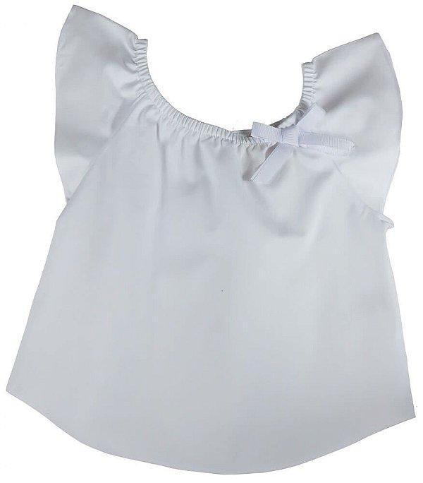 Blusa Infantil Menina Champedaque branco laço