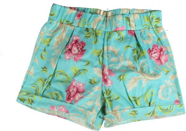 Shorts infantil Menina Champedaque florido 100 % algodão