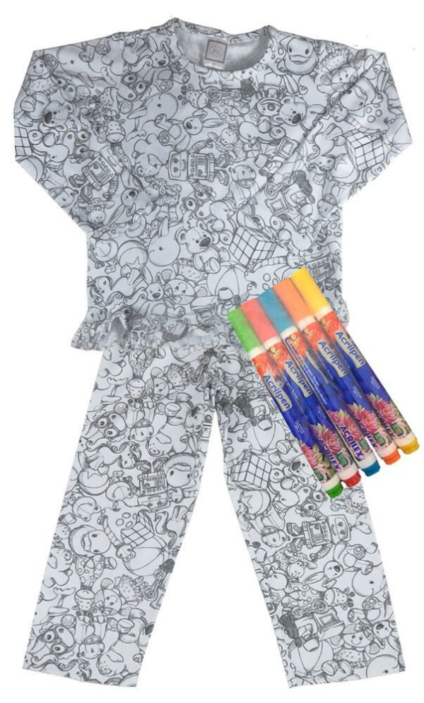177230d17 Pijama infantil de pintar inverno menina - 100% algodão - Kids na ...