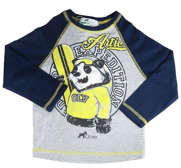 Camiseta infantil Menino Oliver manga longa urso panda snow