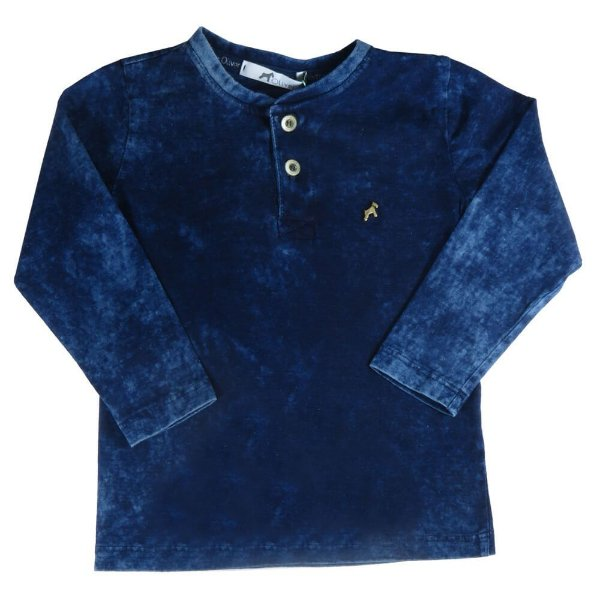 Camiseta infantil Menino Oliver gola portuguesa malha índigo