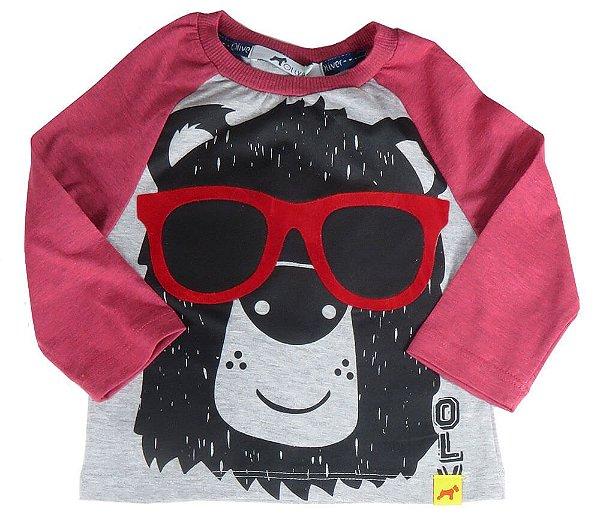 Camiseta infantil Oliver meia malha bicolor urso óculos cool