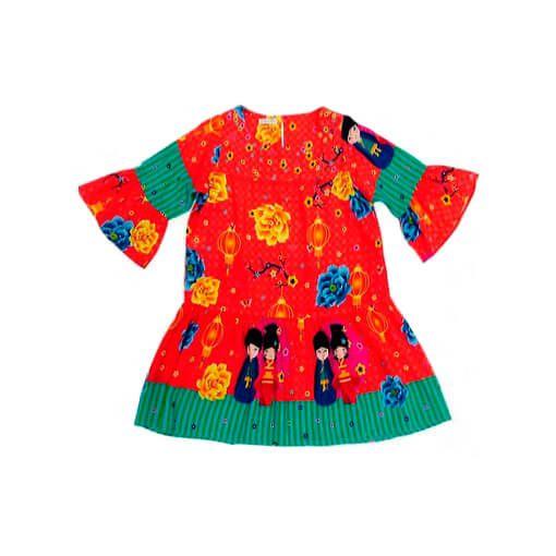 Vestido infantil Guapachic  bonecos japoneses