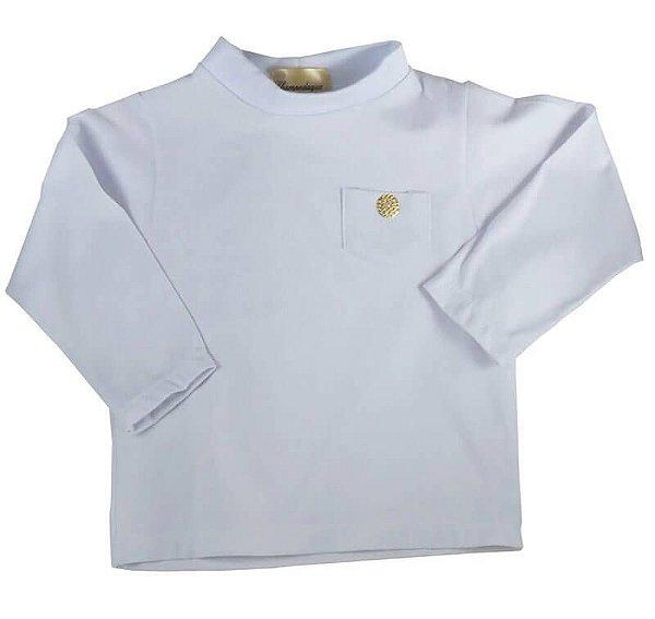 Blusa infantil Champedaque branca gola ribana bola dourada