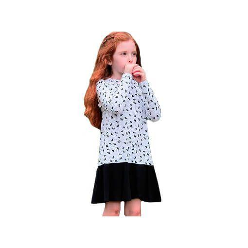 Vestido infantil viscose boquinhas branco e preto - Jokenpô