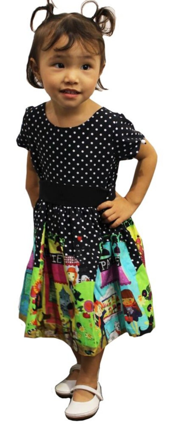 Vestido infantil Guapachicfesta  patisserie preto poá