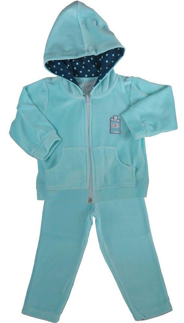 Conjunto infantil feminino Baby Fashion plush perfume azul -