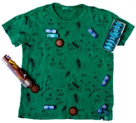 Camiseta infantil  Manga curta tingimento estampa formigas verde