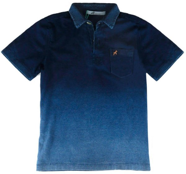 Camiseta infantil Oliver polo malha indigo degrade azul
