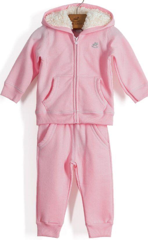 2cfb467b3194ea Conjunto infantil Up Baby casaco e calçamoletom flanelado