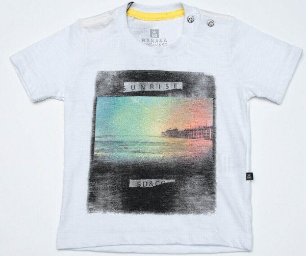 Camiseta infantil Menino Banana Danger  flame branca Sunrise