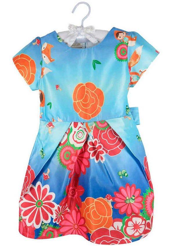 Vestido infantil Guapachic festa azul chapeuzinho flores