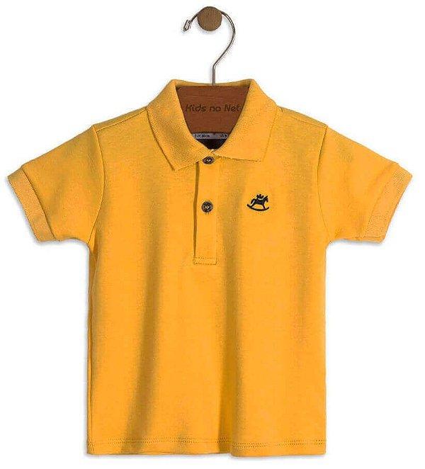 Camiseta polo infantil masculino Up Baby em suedine  amarela
