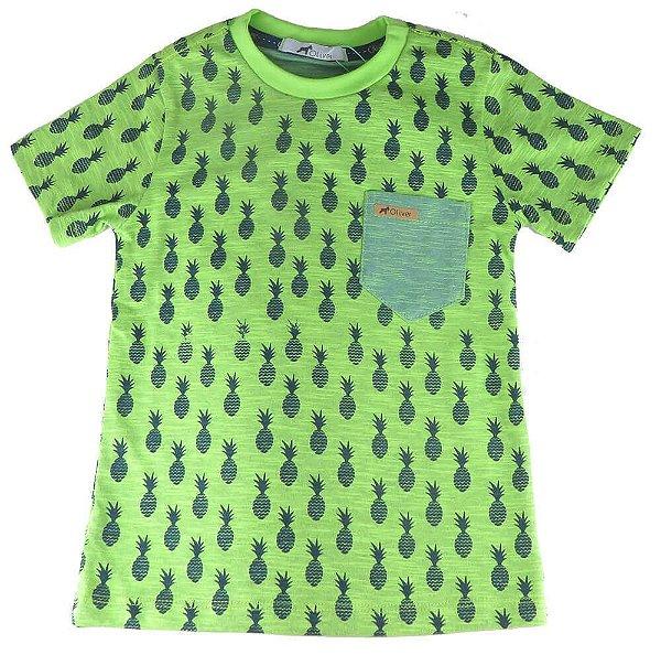 Camiseta Infantil Menino Oliver Verde Flamê Abacaxí