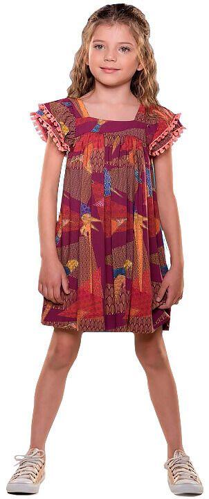 Vestido infantil Menina Que te encante bordo com madrepérola