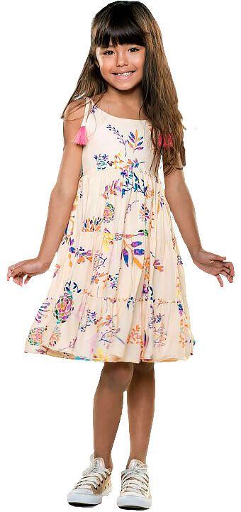Vestido infantil Que te encante creme folhagem amarilis