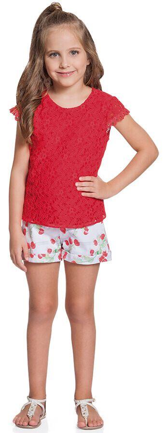 Conjunto infantil Ninali blusa renda e shorts florido