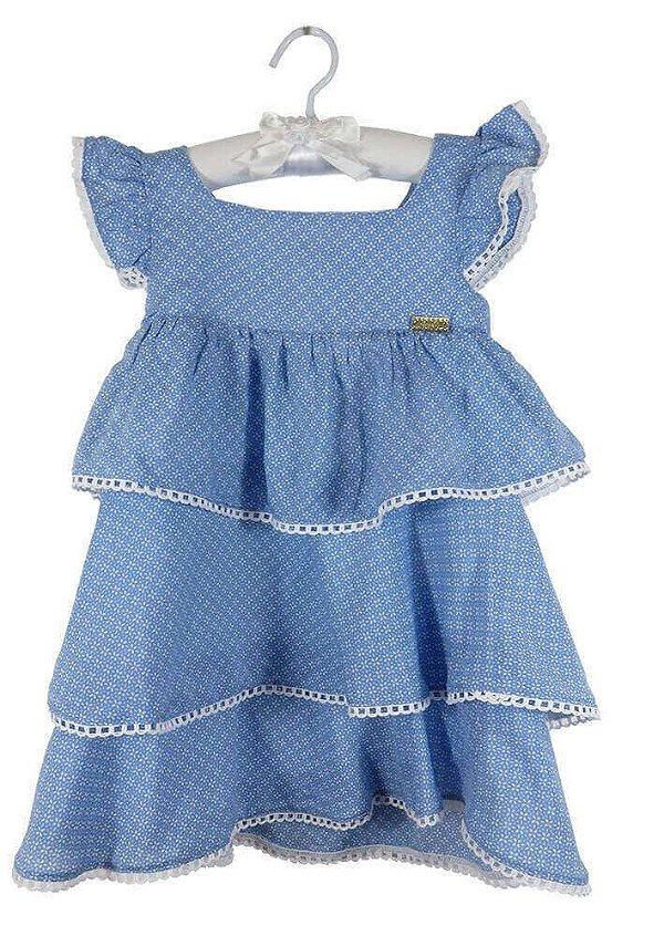 Vestido infantil Menina Ninali Azul viscose Mini flores