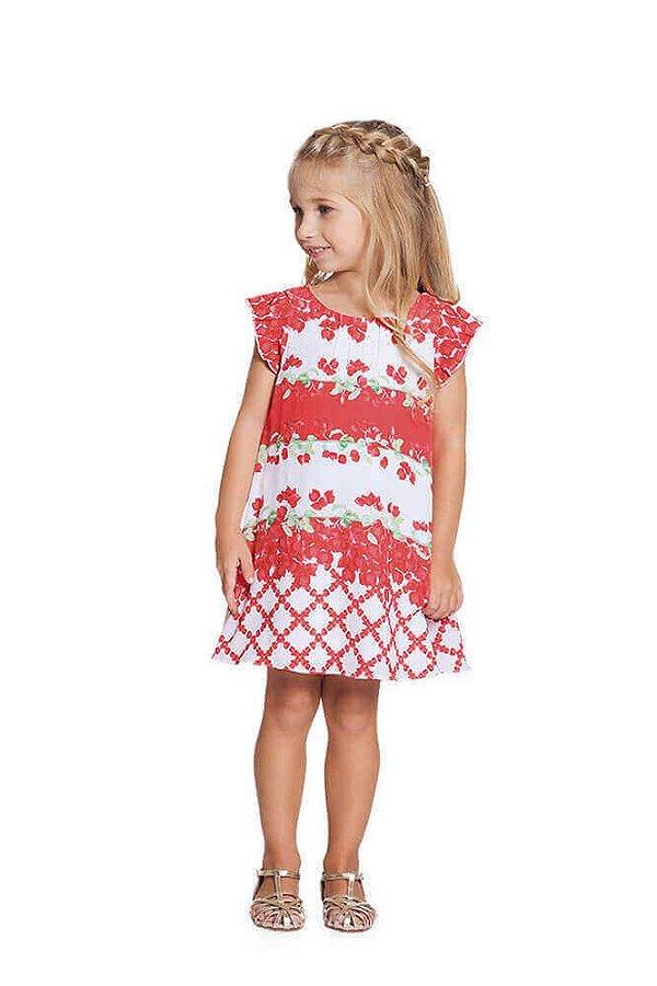 Vestido infantil Menina Ninali crepe branco florido sininho