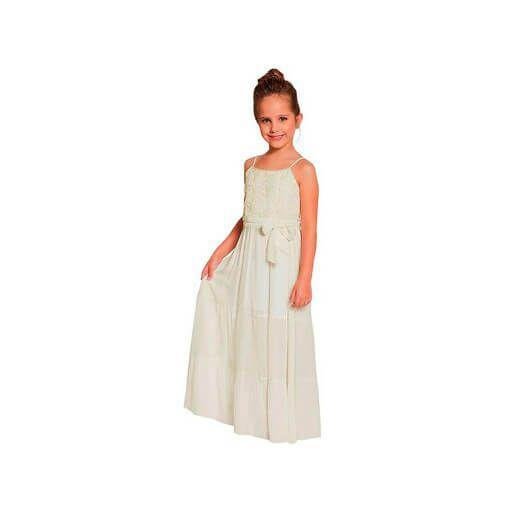 a9ce57688 Vestido longo infantil off white viscose com renda florida Ninali ...