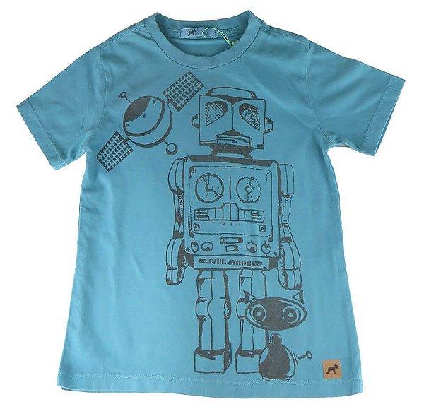 Camiseta infantil Oliver algodão robô azul esverdeado